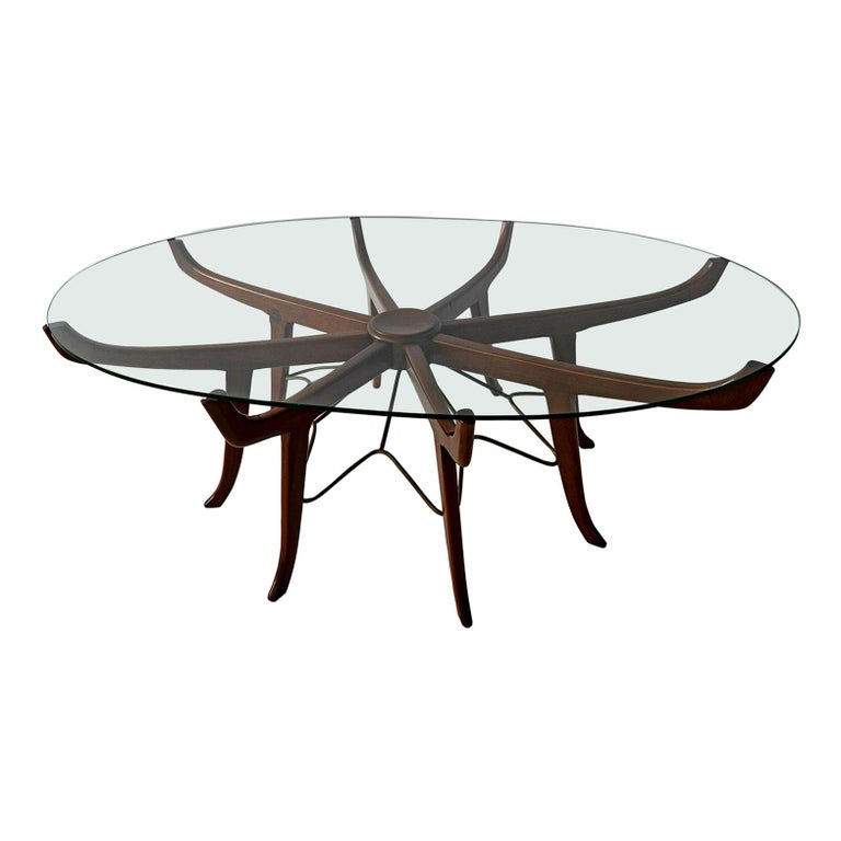Italian Modern Mahogany Steel And Gl Coffee Table Attrib To Carlo De Carli