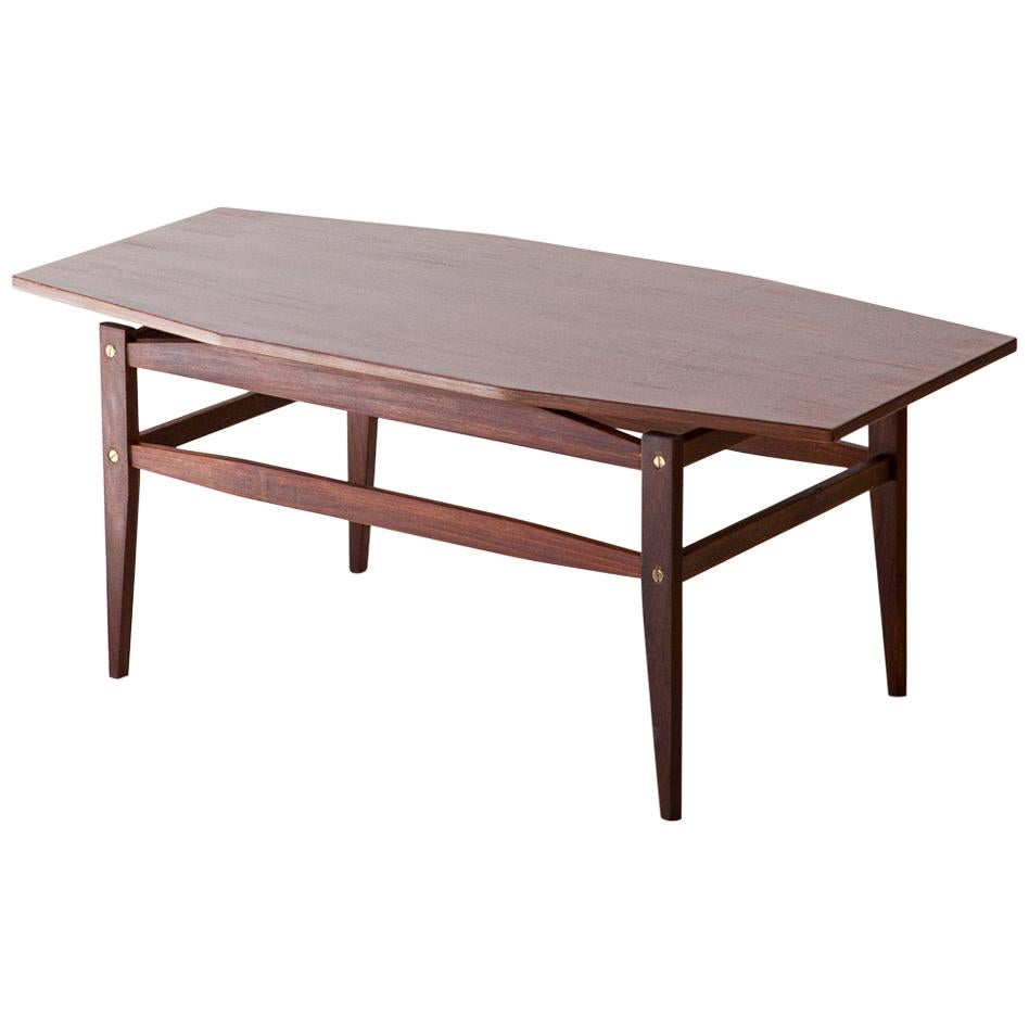 Italian Modern Mahogany Wood Coffee Table, 1950s