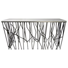 Italian Modern Marble-Top Steel Console, Memphis Movement