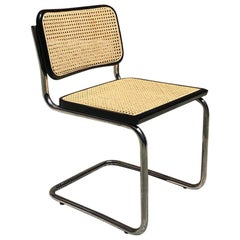 Italian Cesca style Chair in black beech, chromed metal and Vienna straw, 1970s