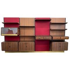 Italian Modern Midcentury Modular Wall Unit in Rosewood, Wool and Brass