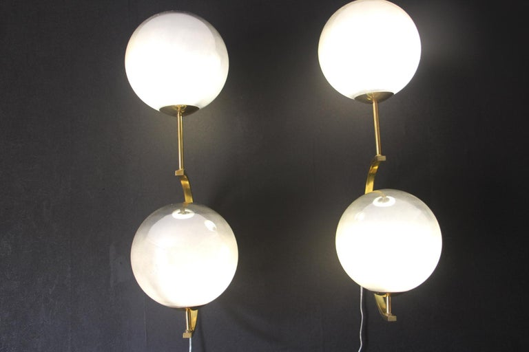 Italian Modern Midcentury Pair of Brass and Mercurised Sliver Glass Sconces For Sale 5