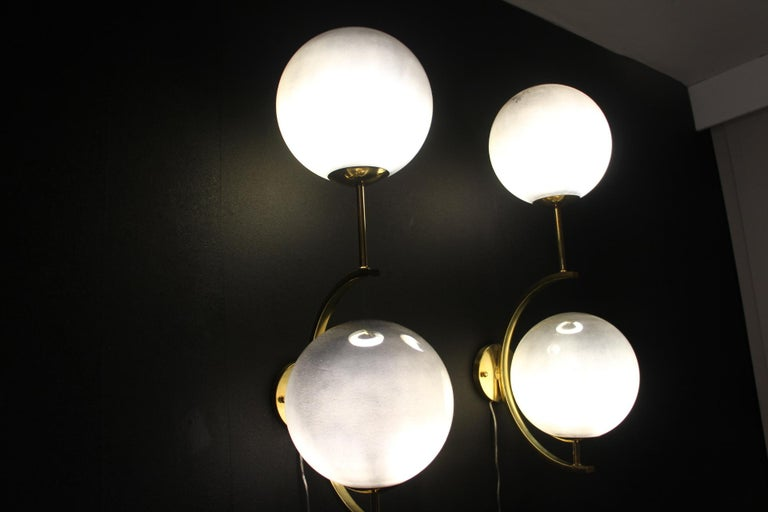 Italian Modern Midcentury Pair of Brass and Mercurised Sliver Glass Sconces For Sale 7