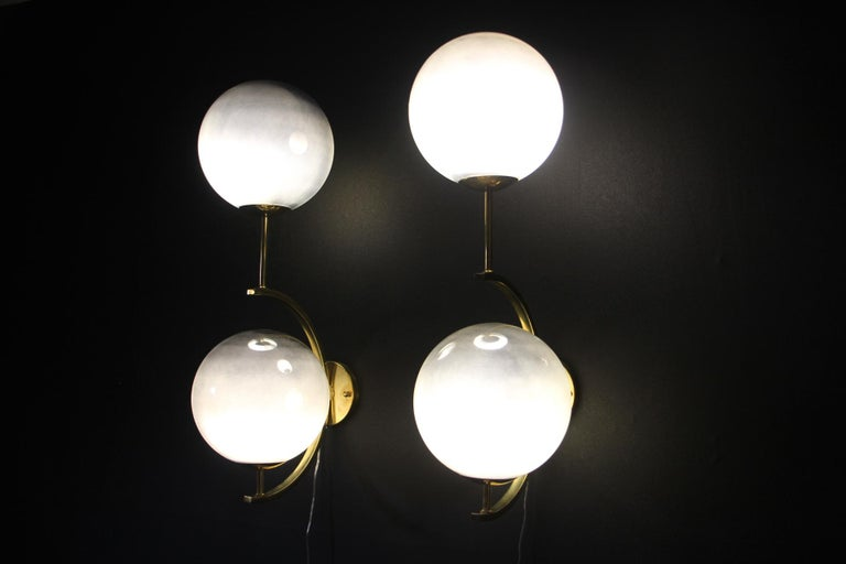 Italian Modern Midcentury Pair of Brass and Mercurised Sliver Glass Sconces For Sale 10