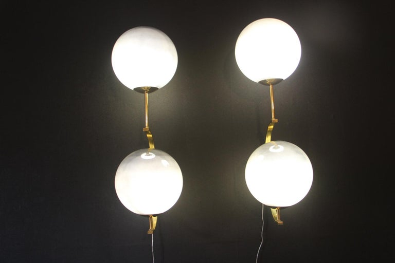 Italian Modern Midcentury Pair of Brass and Mercurised Sliver Glass Sconces For Sale 12