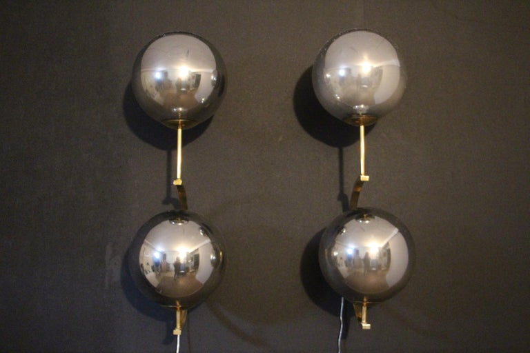 Mid-Century Modern Italian Modern Midcentury Pair of Brass and Mercurised Sliver Glass Sconces For Sale