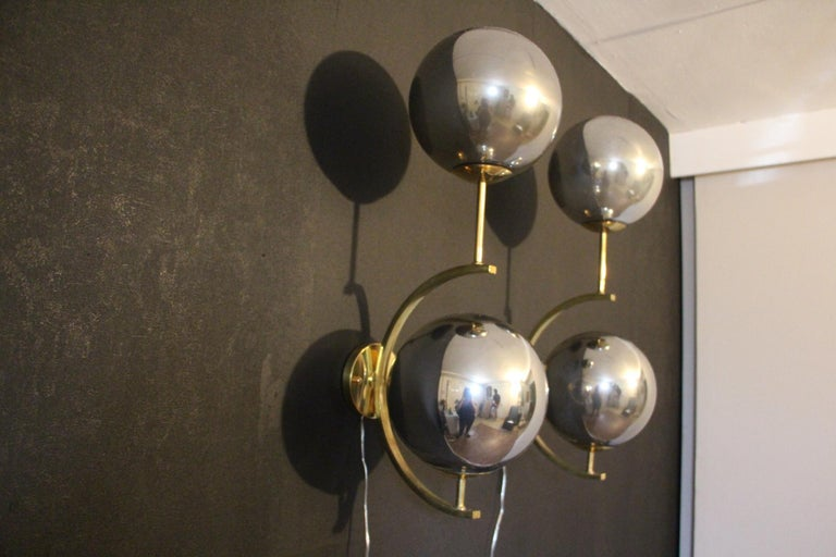 20th Century Italian Modern Midcentury Pair of Brass and Mercurised Sliver Glass Sconces For Sale