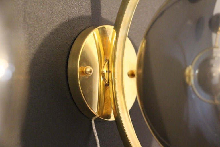 Italian Modern Midcentury Pair of Brass and Mercurised Sliver Glass Sconces For Sale 3
