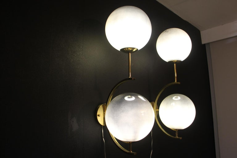 Italian Modern Midcentury Pair of Brass and Mercurised Sliver Glass Sconces For Sale 4