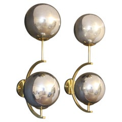 Italian Modern Midcentury Pair of Brass and Mercurised Sliver Glass Sconces