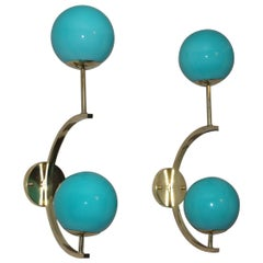 Italian Modern Midcentury Pair of Brass and Turquoise Blue Glass Sconces
