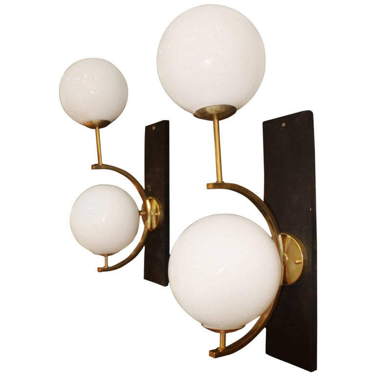 Italian Modern Midcentury Pair of Brass and White Glass Sconces