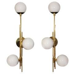 Italian Modern Midcentury Pair of Brass and White Glass Sconces, Stilnovo Style