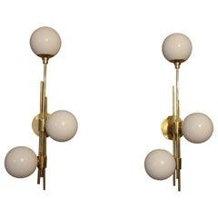 Italian Modern Midcentury Pair of Brass and White Murano Glass Sconces