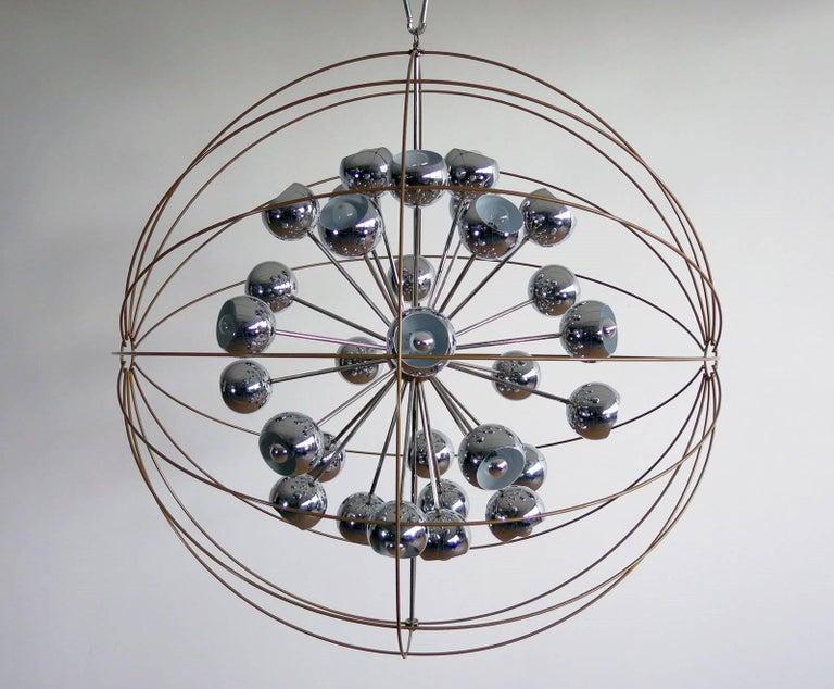 Mid-Century Modern Italian Modern Multi Light Sputnik Chandelier with Chrome Reggiani Lamps, 1970 For Sale
