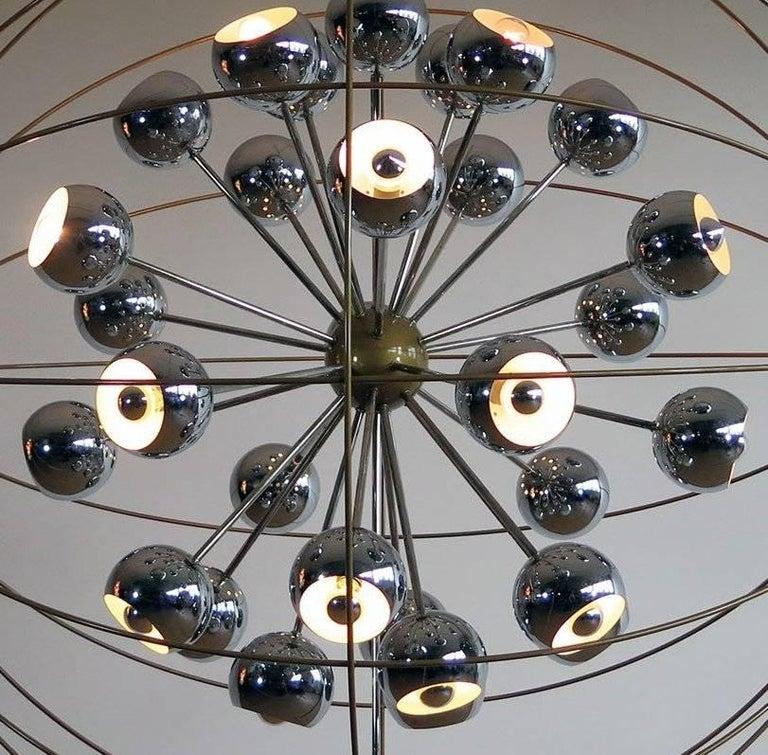 Italian Modern Multi Light Sputnik Chandelier with Chrome Reggiani Lamps, 1970 For Sale 2