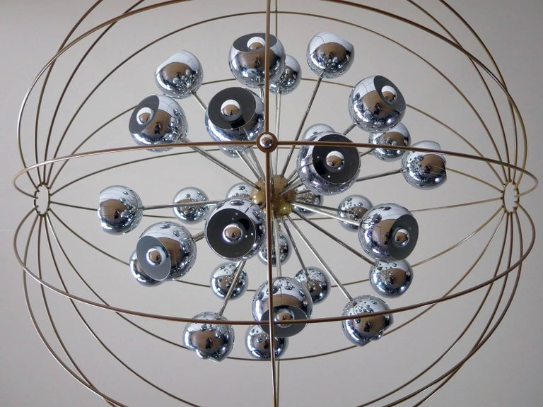 Italian Modern Multi Light Sputnik Chandelier with Chrome Reggiani Lamps, 1970 For Sale 3