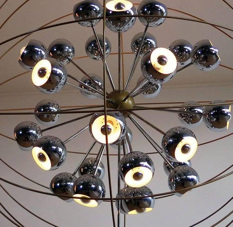 Italian Modern Multi Light Sputnik Chandelier with Chrome Reggiani Lamps, 1970 For Sale 4