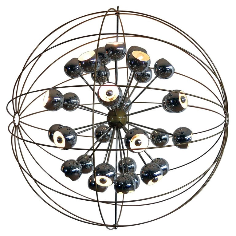 Italian Modern Multi Light Sputnik Chandelier with Chrome Reggiani Lamps, 1970 For Sale