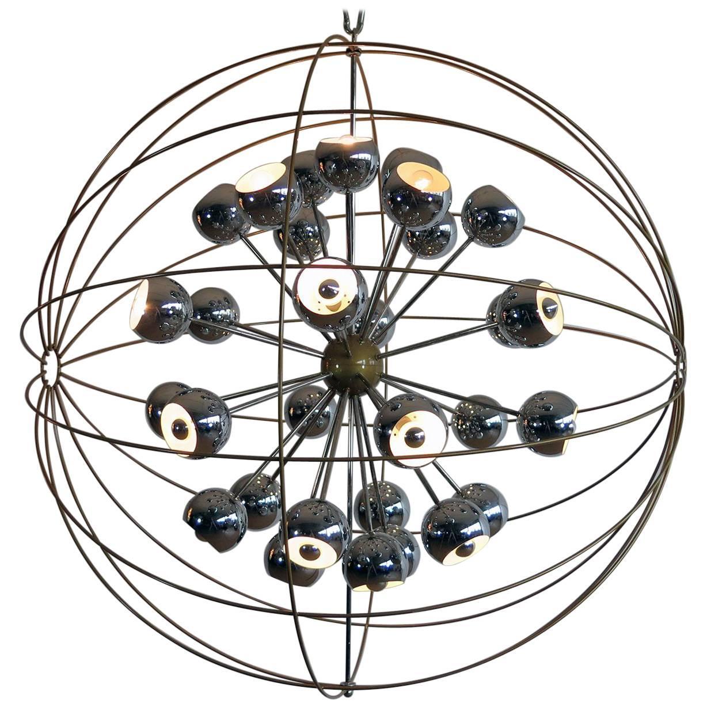Italian Modern Multi Light Sputnik Chandelier with Chrome Reggiani Lamps