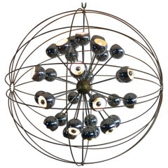 Italian Modern Multi Light Sputnik Chandelier with Chrome Reggiani Lamps