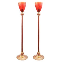 Italian Modern Murano Glass Torchiere Floor Lamps
