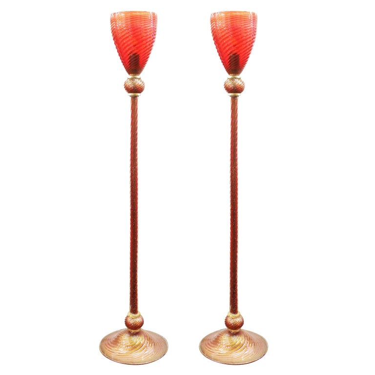 Italian Modern Murano Glass Torchiere Floor Lamps For Sale
