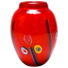 Italian Modern Murano Glass Vase in Cherry Red with Millefiori Plugs