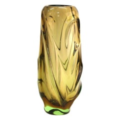 Italian Modern Murano Glass Vase in Smokey Green