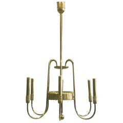 Italian Modern Neoclassical Brass Chandelier by Luigi Brusotti