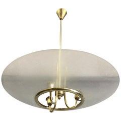 Italian Modern Neoclassical Brass /Glass Pendant by Pietro Chiesa & Fontana Arte