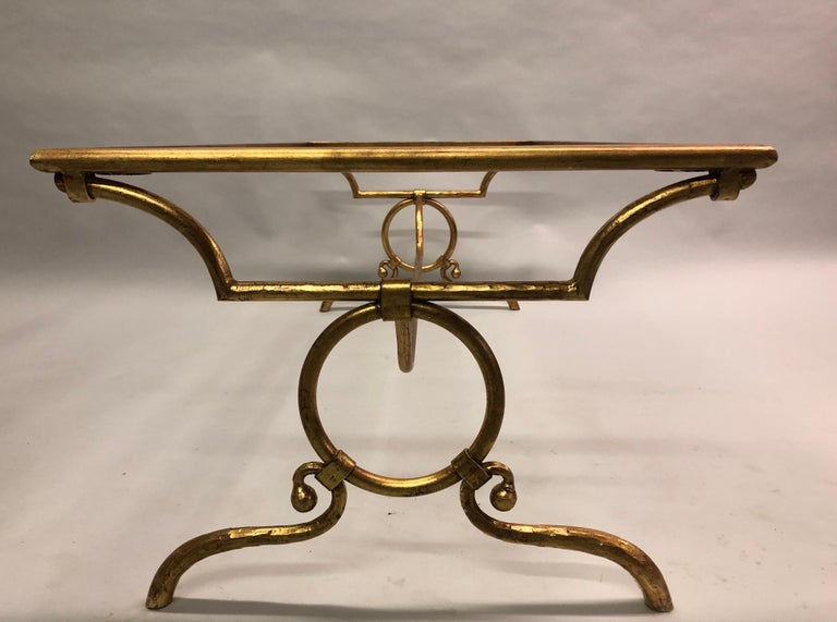 Mid-Century Modern Italian Modern Neoclassical Gilt Iron Coffee Table for Hermès For Sale