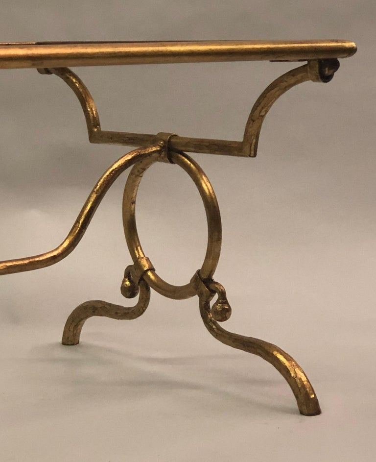 Italian Modern Neoclassical Gilt Iron Coffee Table for Hermès In Good Condition For Sale In New York, NY
