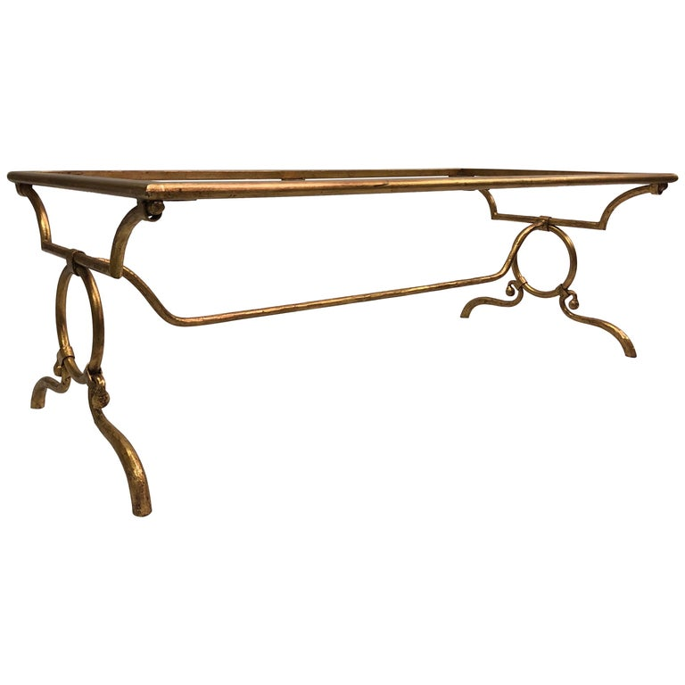Italian Modern Neoclassical Gilt Iron Coffee Table for Hermès For Sale