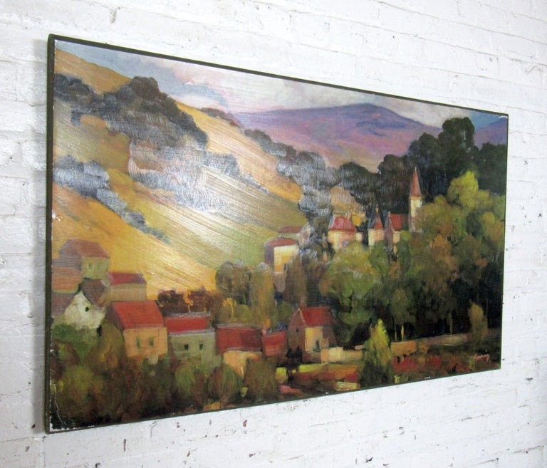 Mid-Century Modern Italian Modern Oil Painting Signed by Artist For Sale