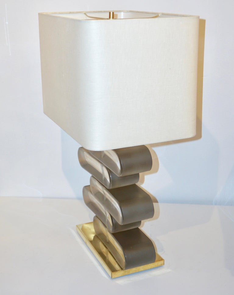 Italian Modern Pair of Brass and Bronze Murano Glass Architectural Table Lamps For Sale 4