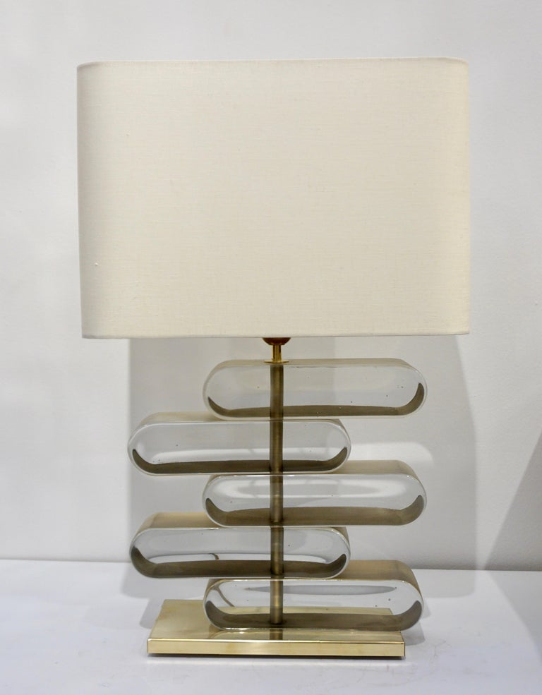 Italian Modern Pair of Brass and Bronze Murano Glass Architectural Table Lamps For Sale 7