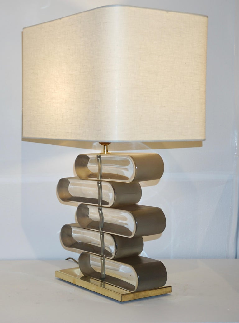 Italian Modern Pair of Brass and Bronze Murano Glass Architectural Table Lamps For Sale 3