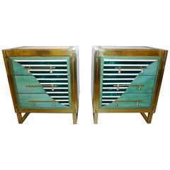 Italian Modern Pair of Geometric Green Ivory White and Brass Chests/Nightstands