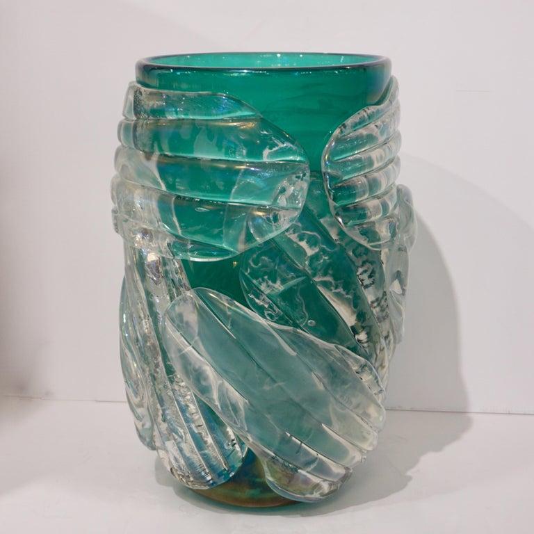 Italian Modern Pair of Iridescent Emerald Green Murano Glass Sculpture Vases For Sale 4