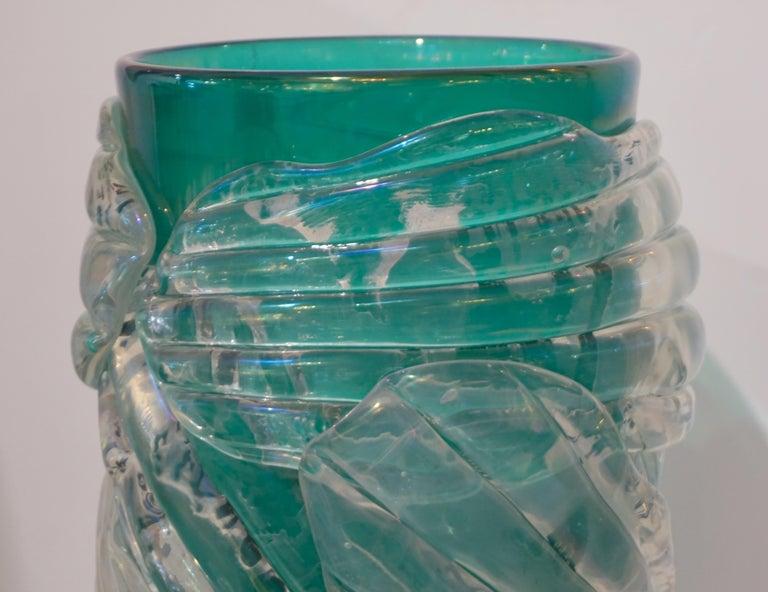Italian Modern Pair of Iridescent Emerald Green Murano Glass Sculpture Vases For Sale 6
