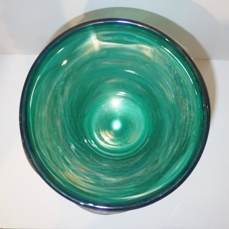 Italian Modern Pair of Iridescent Emerald Green Murano Glass Sculpture Vases For Sale 7