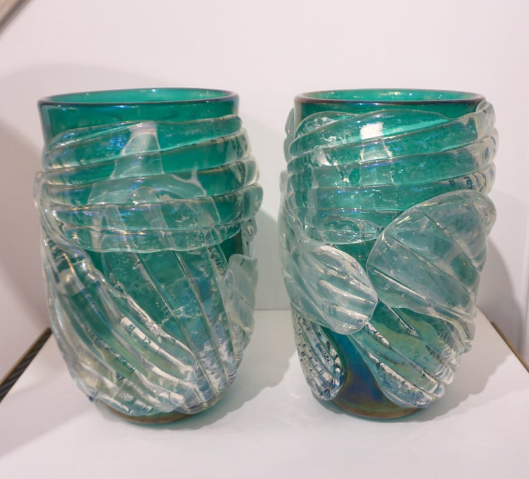 Italian Modern Pair of Iridescent Emerald Green Murano Glass Sculpture Vases For Sale 9
