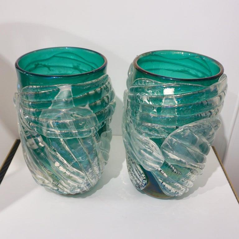 Italian Modern Pair of Iridescent Emerald Green Murano Glass Sculpture Vases For Sale 10