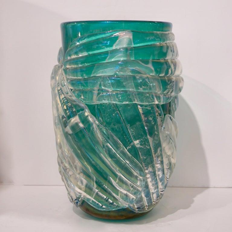 Italian Modern Pair of Iridescent Emerald Green Murano Glass Sculpture Vases For Sale 1