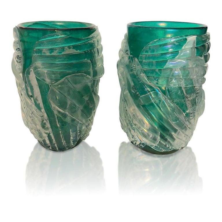 Italian Modern Pair of Iridescent Emerald Green Murano Glass Sculpture Vases For Sale 2