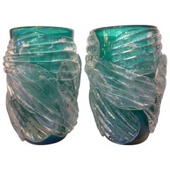 Italian Modern Pair of Iridescent Emerald Green Murano Glass Sculpture Vases