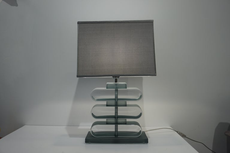 Italian Modern Pair of Nickel and Smoked Aqua Murano Glass Architectural Lamps For Sale 8