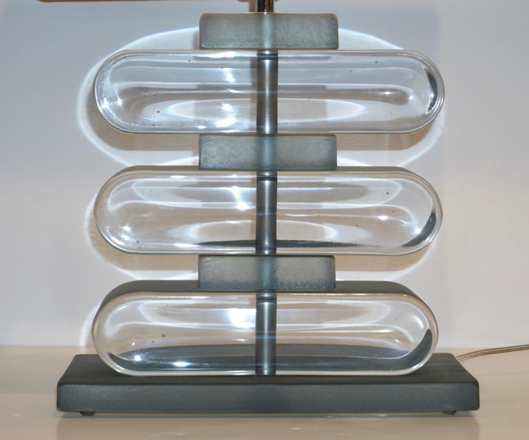 Italian Modern Pair of Nickel and Smoked Aqua Murano Glass Architectural Lamps For Sale 9