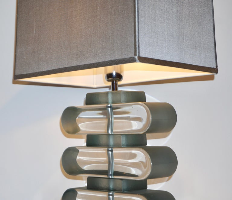 Italian Modern Pair of Nickel and Smoked Aqua Murano Glass Architectural Lamps For Sale 10